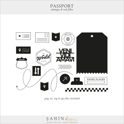 Passport Digital Scrapbook Stamps Cut Files - Sahin Designs - Travel Theme