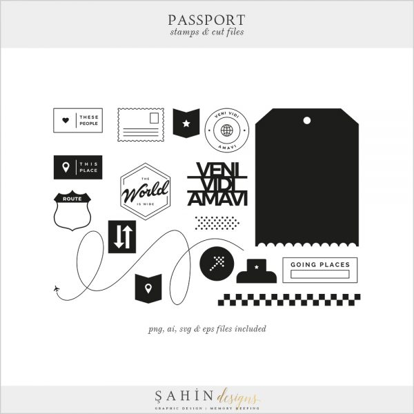 Passport Digital Scrapbook Stamps Cut Files - Sahin Designs - Travel Theme