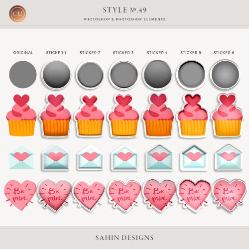 Puffy Sticker Photoshop Layer Styles - Sahin Designs - CU Scrapbook