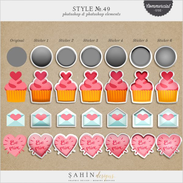 Puffy Sticker Photoshop Layer Styles - Sahin Designs - CU Digital Scrapbook