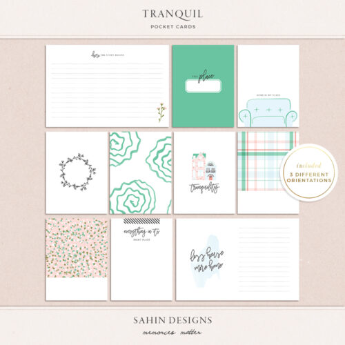Tranquil Printable Pocket Cards - Sahin Designs