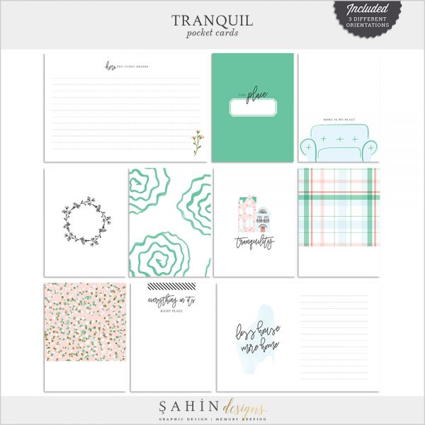 Tranquil Digital Scrapbook Pocket Cards -Home - Sahin Designs