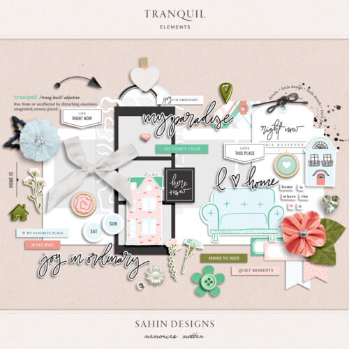 Tranquil Digital Scrapbook Elements - Sahin Designs
