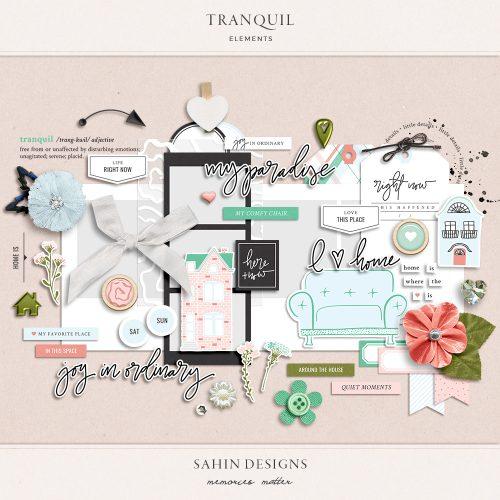 Tranquil Digital Scrapbook Elements - Sahin Designs
