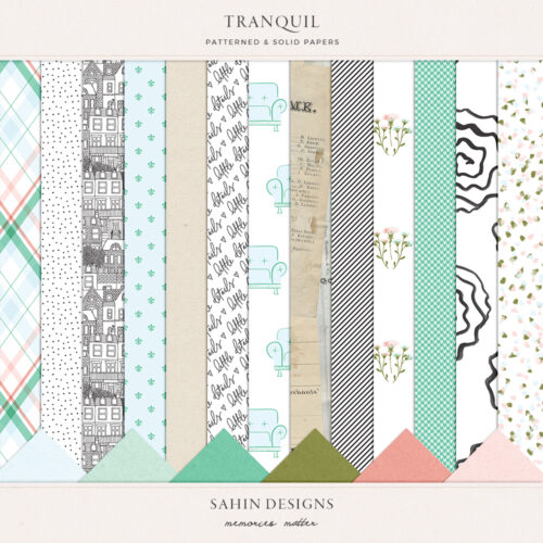 Tranquil Digital Scrapbook Papers - Sahin Designs
