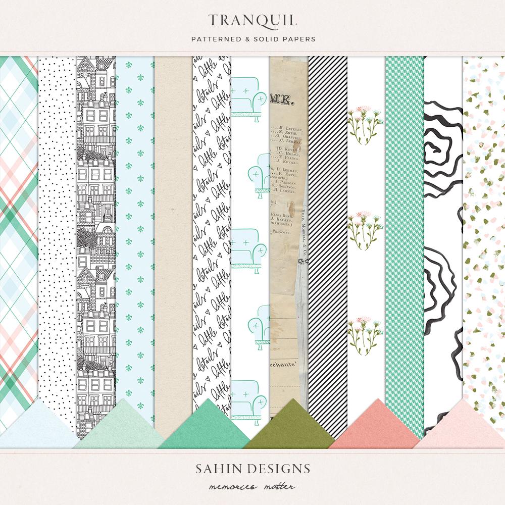Tranquil Digital Scrapbook Papers - Sahin Designs