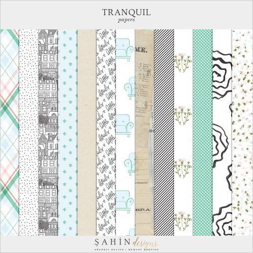 Tranquil Digital Scrapbook Papers - Home - Sahin Designs