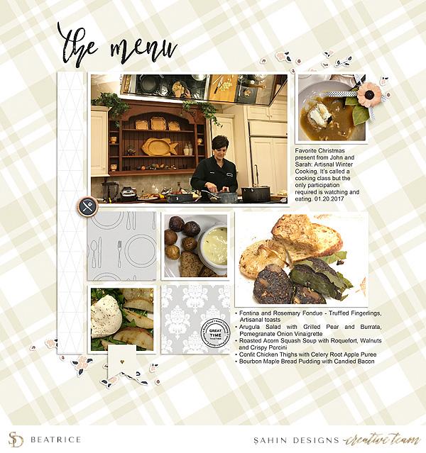 Dinner digital scrapbook layout - Sahin Designs
