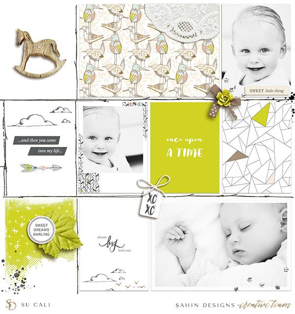 Baby digital scrapbook layout idea - Sahin Designs