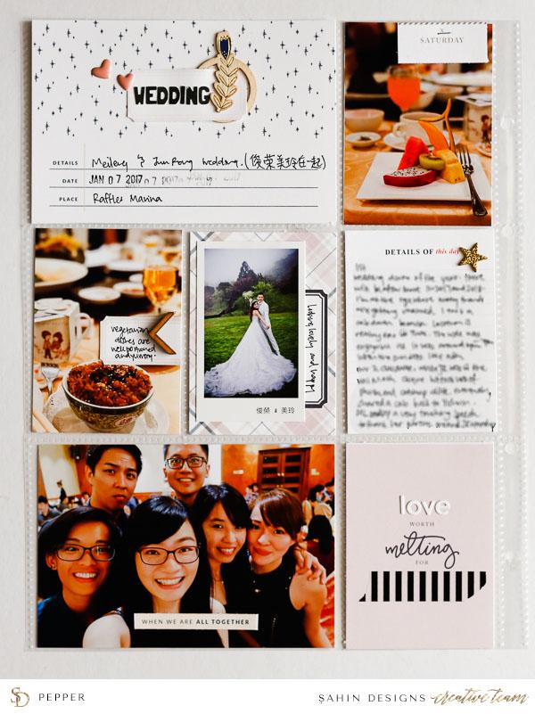 Dinner pocket scrapbook layout - Sahin Designs