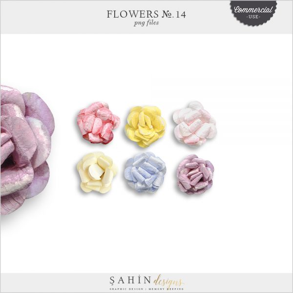 Extracted Watercolor Paper Flowers - Sahin Designs - CU Digital Scrapbook