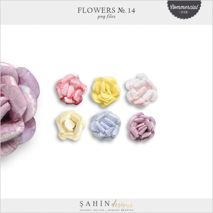 Extracted Watercolor Paper Flowers - Sahin Designs - CU Digital Scrapbook