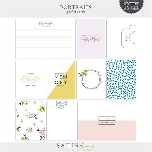 Portraits Digital Scrapbook Pocket Cards - Sahin Designs - Everyday Life
