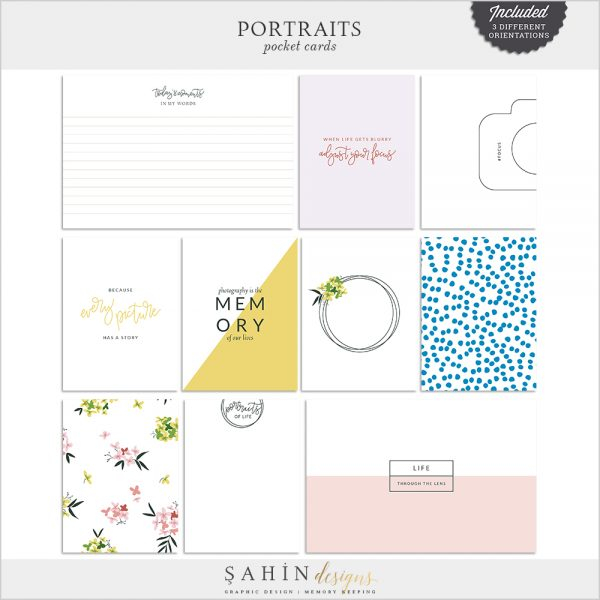 Portraits Digital Scrapbook Pocket Cards - Sahin Designs - Everyday Life