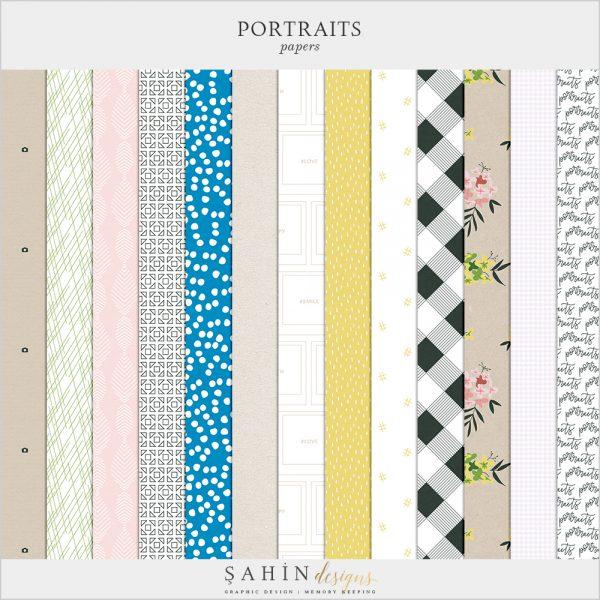 Portraits Digital Scrapbook Papers - Sahin Designs - Everyday Life