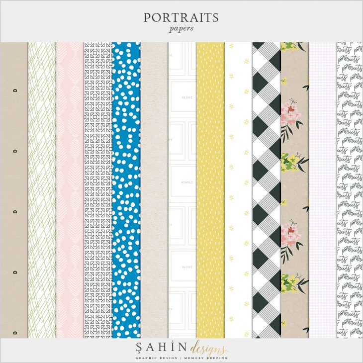 Portraits Digital Scrapbook Papers - Sahin Designs - Everyday Life