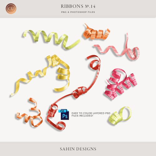 Extracted Curly Ribbons - Sahin Designs - CU Digital Scrapbook