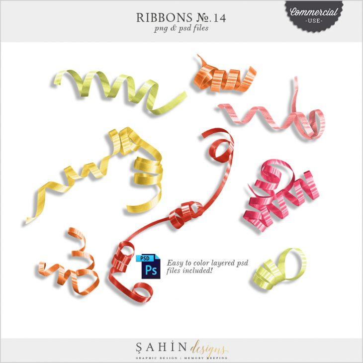 Extracted Curly Ribbons - Sahin Designs - CU Digital Scrapbook