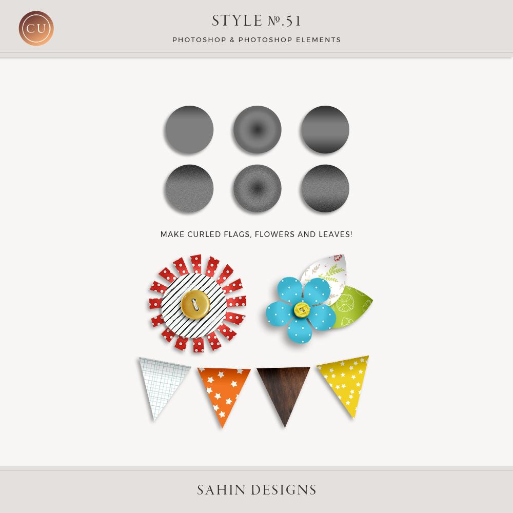 Curled Photoshop Layer Styles - Sahin Designs - CU Digital Scrapbook