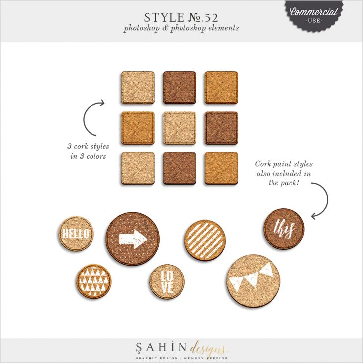 Cork Photoshop Layer Styles - Sahin Designs - CU Digital Scrapbook
