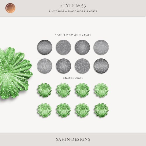 Glittery Photoshop Layer Styles - Sahin Designs - CU Digital Scrapbook