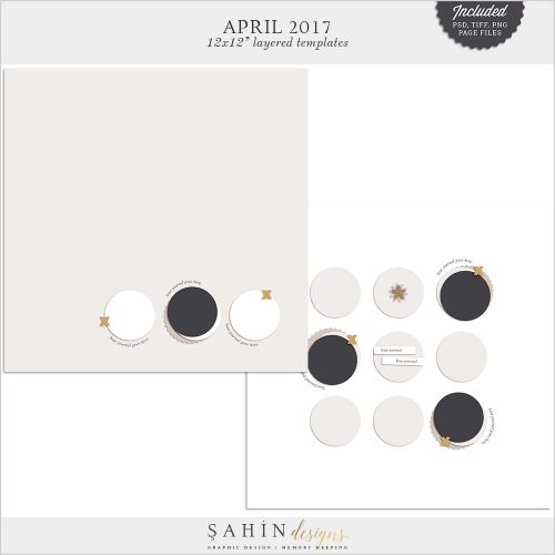 April 2017 Digital Scrapbook Layout Templates/Sketches - Sahin Designs