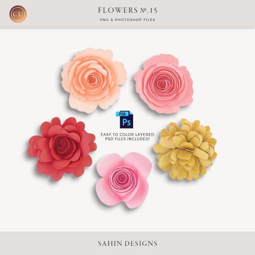 Extracted Rolled Paper Flowers - Sahin Designs - CU Digital Scrapbook