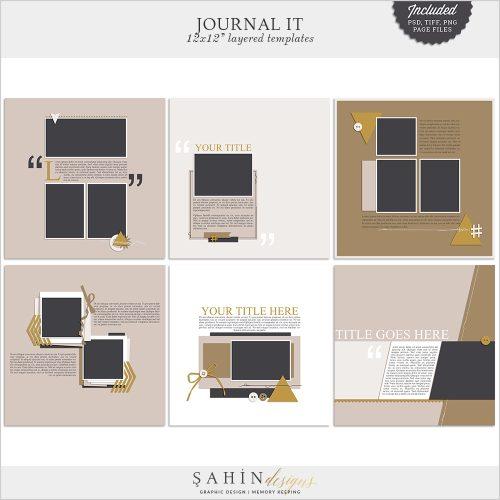Journal It Digital Scrapbook Layout Templates / Sketches - Sahin Designs