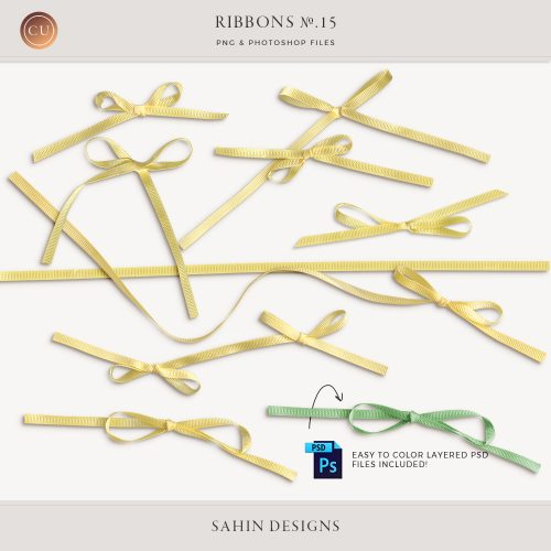 Extracted Yellow Ribbons - Sahin Designs - CU Digital Scrapbook