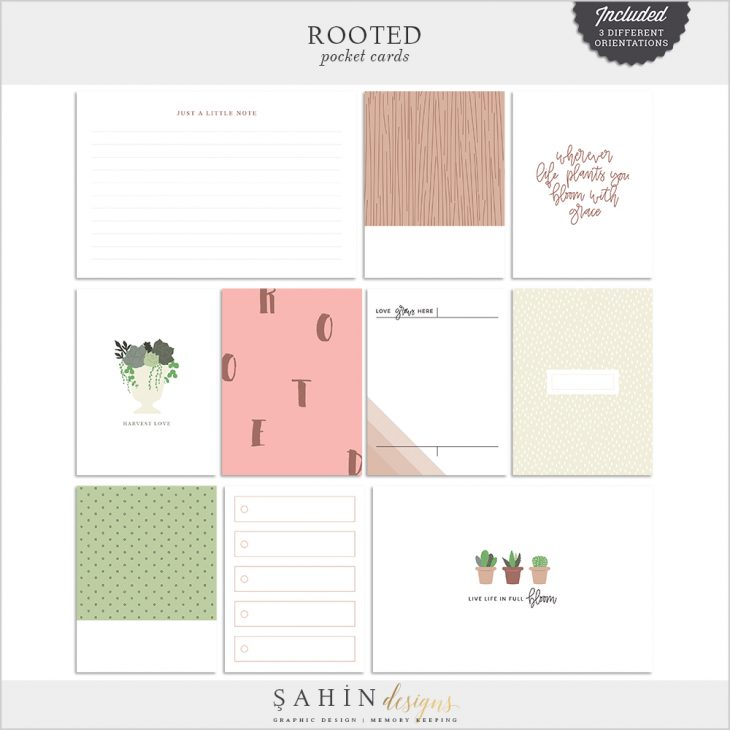 Rooted Digital Scrapbook Pocket Cards - Sahin Designs