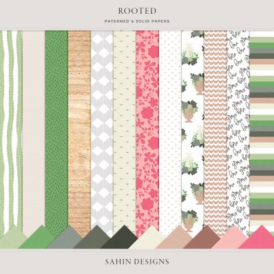 Rooted Digital Scrapbook Papers - Sahin Designs