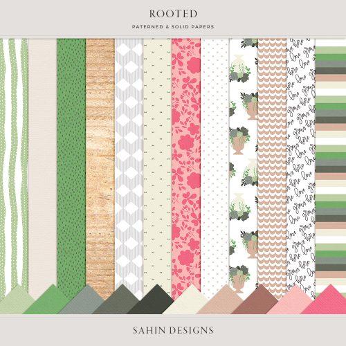 Rooted Digital Scrapbook Papers - Sahin Designs