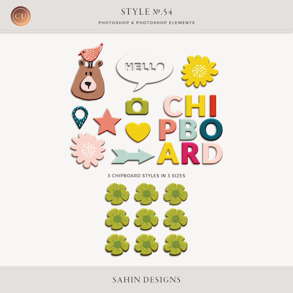 Chipboard Photoshop Layer Styles - Sahin Designs - CU Digital Scrapbook