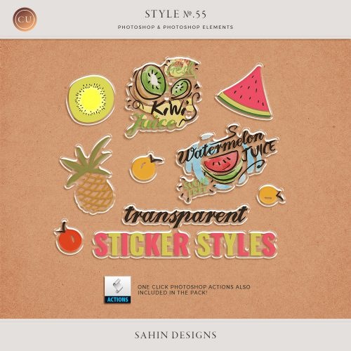 Transparent Sticker Photoshop Layer Styles & Actions - Sahin Designs - CU Digital Scrapbook