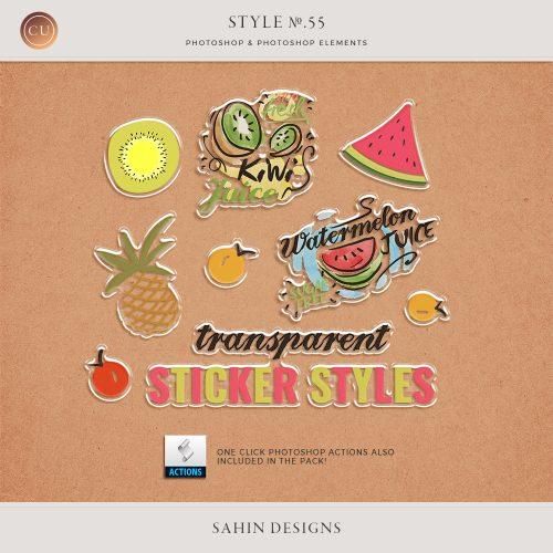 Transparent Sticker Photoshop Layer Styles & Actions - Sahin Designs - CU Digital Scrapbook