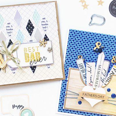 DIY Father's Day Cards - Sahin Designs - Hybrid Scrapbooking Inspiration