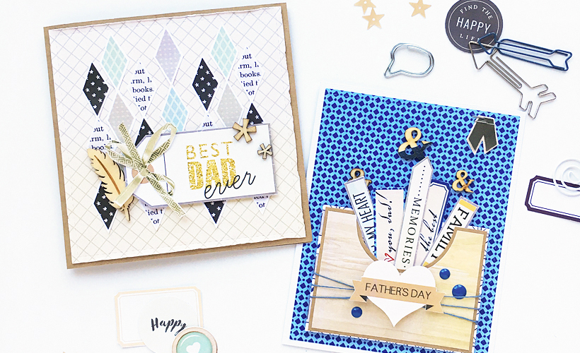 DIY Father's Day Cards - Sahin Designs - Hybrid Scrapbooking Inspiration