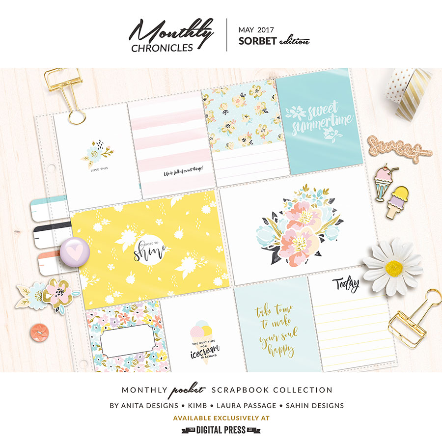 Monthly Chronicles Sorbet Edition   Digital Scrapbook collection