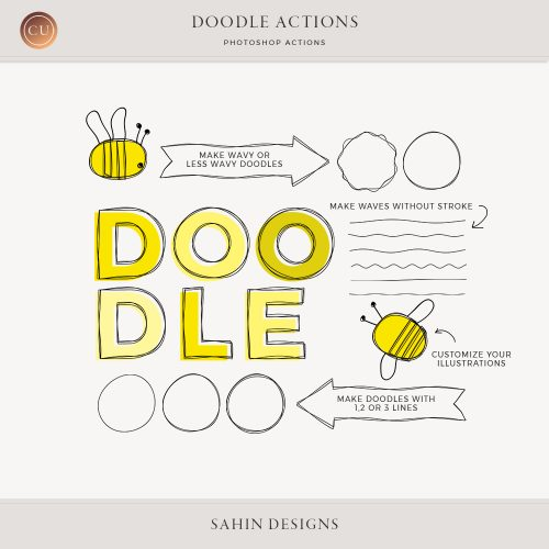 Doodle Photoshop Actions - Sahin Designs - CU Digital Scrapbook