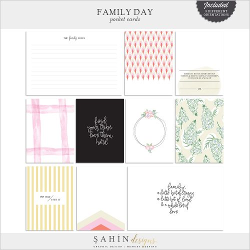 Family Day Digital Scrapbook Pocket Cards - Sahin Designs