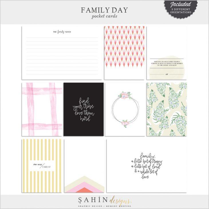 Family Day Digital Scrapbook Pocket Cards - Sahin Designs