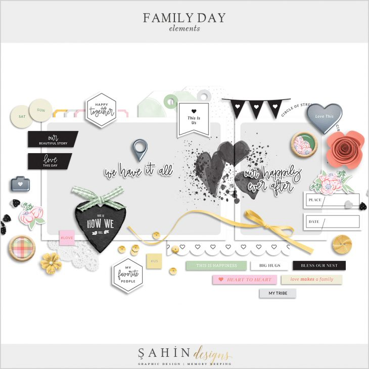 Family Day Digital Scrapbook Elements - Sahin Designs