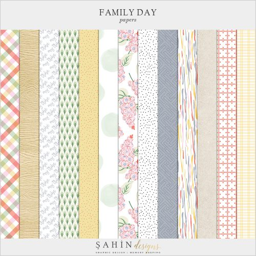 Family Day Digital Scrapbook Papers - Sahin Designs