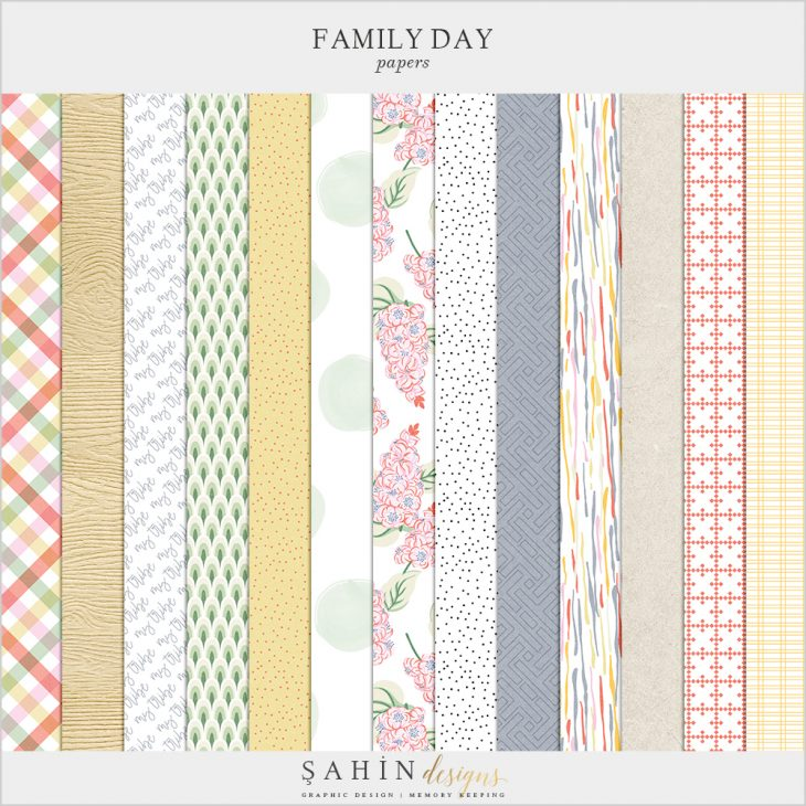 Family Day Digital Scrapbook Papers - Sahin Designs