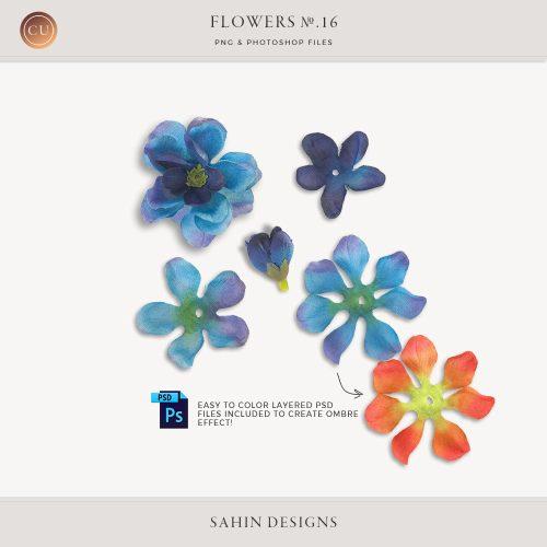 Extracted Ombre Fabric Flowers - Sahin Designs - CU Digital Scrapbooking
