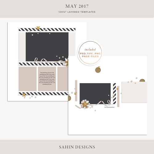 May 2017 Digital Scrapbook Layout Templates/Sketches - Sahin Designs