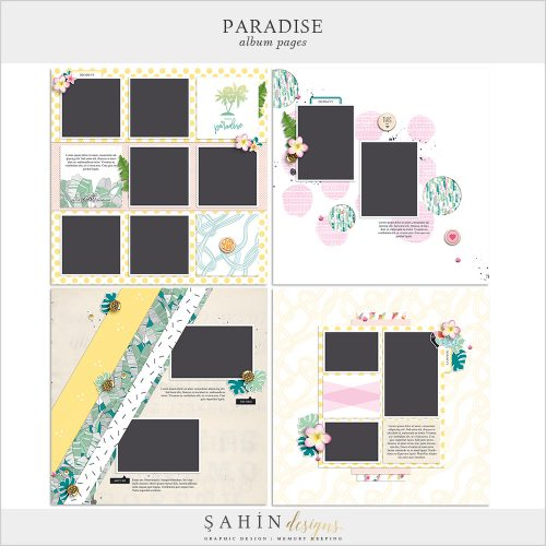 Paradise Digital Scrapbook Quick Pages - Sahin Designs