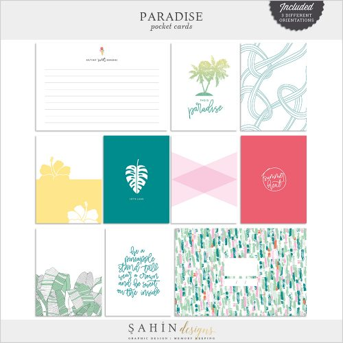 Paradise Digital Scrapbook Pocket Cards - Sahin Designs