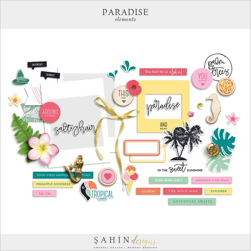 Paradise Digital Scrapbook Elements - Sahin Designs
