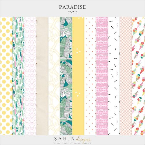 Paradise Digital Scrapbook Papers - Sahin Designs - Digital Pattern